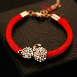 Lucky Red Rope Chain Bracelets Women Full of Crystal Calabash Charms Bracelets Gold Plated Statement Bracelets & Bangles Jewe;ru