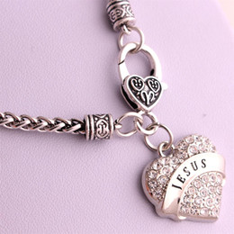 Drop Shipping New Arrival rhodium plated zinc studded with sparkling crystals JESUS heart pendant wheat chain necklace
