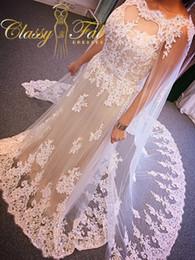 Wholesale 2016 Wedding Dresses with cloak Cape Arabic Dubai Applique Lace Wedding Gowns Beaded vestido de noiva robe de mariage Muslim Bridal Gowns