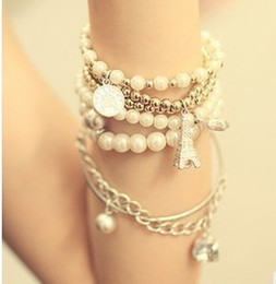 Korean Fashion Jewelry Vintage Tower Pearl Coin Multi-elements Necklace Multilayer Sets Charms Dangle Pendants Necklaces Jewelry For Women