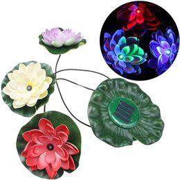 Wholesale Colorful LED Floating Waterproof Lotus Lamp Solar Powered Pond Landscape Light Solar Lotus Light Set B243