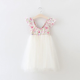 INS Girls Princess Dress Kids Clothing 2016 Summer Floral Lace Tutu Dress Fashion Bow Sleeveless Girls Party Dress