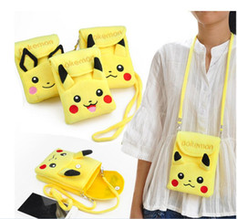Portefeuille double portefeuille en Ligne-Pikachu Plush Double-couche Phone Package Poke Wallet Coin Purse Messenger Bag Femmes Cartoon Cartoon Mini Eevee Porte-clés Porte-monnaie Sacs à dos