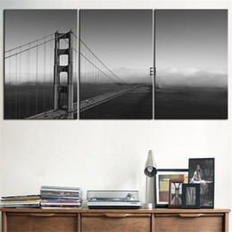 NO FRAME 3pcs golden gate grey briage landscape Printed Oil Painting On Canvas wall Painting for Home Decor Wall picture