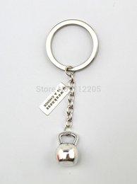 Promotion choix de sports Bijoux à la mode des porte-clés 10pcs beaucoup d'argent antique Kettle sport cloche Faiblesse est une chaîne Choice Fitness Gym haltérophilie Key (K117)