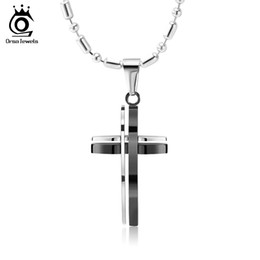 ORSA Gold or Black Cross Cut Necklace 316L Stainless Steel Pendant Necklace for Men Best Gift GTN10