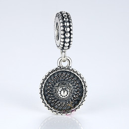 Authentic 925 Sterling Silver Dangle Charms Round Sombrero Pendants for Pandora Style Beaded Charm Bracelets S304