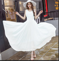 Ladies dress summer 2016 new ladies slim long skirts and put on dress Korean sleeveless chiffon dress girls