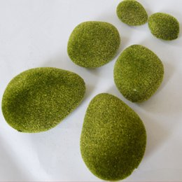 Wholesale Artificial Moss Stones Grass Bryophytes Green Plant Pot Bonsai Home Garden Wedding Decor Decoration set
