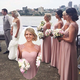 Dark Pink Bridesmaid Dresses Cheap Flower Sheer Long Prom Gowns Empire Jewel Neck Cap Sleeves Zip Back Long Chiffon Party Gowns