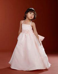 2016 New Spring Blush Pink Spaghetti Straps Little Girl's Pageant Dresses Birthday Party Wedding Custom Made Kids Dresses