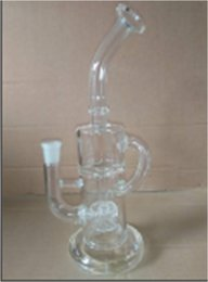 Wholesale 2016 new Klein glass helix oil rigs glass bong blue color recycler two function hollow out design glass water pipes with female joint