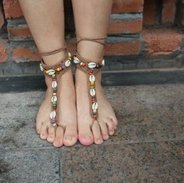 Wholesale 2016 best selling Barefoot anklets Europe and the United States dance yoga anklets wedding shoe foot ornaments with shells and beaded detail