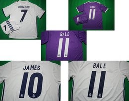 Wholesale Benwon Madrid home white soccer sets RONALDO away purple short sleeve football uniforms JAMES BALE BENZEMA MODRIC designer sports jerseys