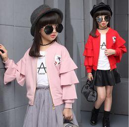 Wholesale Autumn Children Big Girls Sequined Flower Cardigan Baseball Jacket Flouncing Sleeve Tops Kids Clothes Outwear Red Black Pink K8015