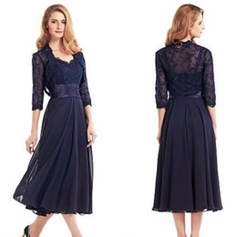 Navy Blue Tea Length Mother Of The Bride Dresses with Jacket 2016 Three Quarter Sleeve Chiffon Mother Formal Evening Dress Long