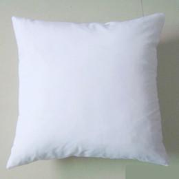 Impression poly en Ligne-Poly plaine blanc Bricolage Blanc Sublimation coussin housse couvre-oreiller 150gsm tissu 40cm carré blanc housse d'oreiller pour bricolage imprimer / peindre