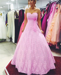 2016 Pink Evening Dresses Sweetheart Neck A Line Lace Applique Bow Floor Length Evening Gowns Vestido