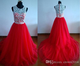 2019 Jewel Neck White and Red Lace Evening Dresses Cheap Tulle A-Line Sweep Train Plus Size Formal Prom Dresses Real Photos Custom Made