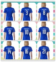Wholesale New Product Women s Italy European cup DEL PIERO PIRLO VERRATTI MARCHISIO PAROLO Home Blue Soccer Jersey shirt