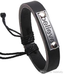 Wholesale 2017 Hot Sale mixed batch Charm Bracelets Elegant Fashionable unisex letters believe alloy calfskin Beautiful Bracelets