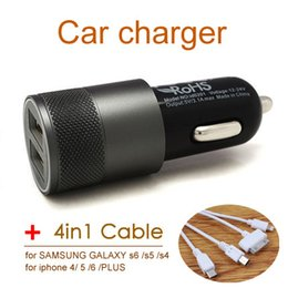 Wholesale-3.1A Dual USB Car Lighter Slot Charger Alloy 2 Port Fast Charging For Ipone 5 5s 6 Ipad HTC Samsung Note 4 With 4-In-1 USB Cable