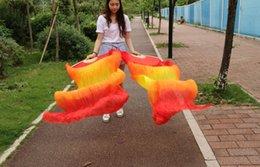 2016 High selling 100% Real Silk Veils 1 Pair handmade women Quality Silk Belly Dance Fan Dance red orange yellow orange red Gradi color 180