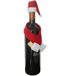 Wholesale 2016 Merry Christmas Decoration Wine Bottle Cover Gift Wrap Party Decor Red scarf Cute Hat