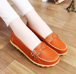 Wholesale Hot Sales Women Lady Casual Flat Work Walking Moccasin PU Leather Shoes Loafers Flats Anti slip Pumps SIZE35