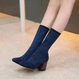 Wholesale Brand new autumn women boots thick with medium tube wool elastic boots fashion Martin boots