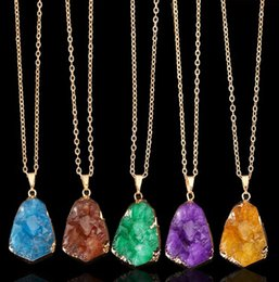 Natural Stone Pendant For Women New Original Gold Plated Necklace Colorful Irregular Shape Crystal Natural Stone Pendants Necklaces Jewelry
