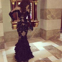 2019 Black Lace Long Sleeve Mermaid Evening Dress Jewel arabic evening gownsvestidos de fiesta Prom Gowns
