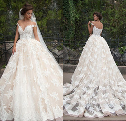 Wholesale 2016 Ball Gown Wedding Dresses Lace Sheer Nude Tulle Jewel Neck D Floral Appliques Chapel Train Bridal Gowns Inspired by Millanova Barbara