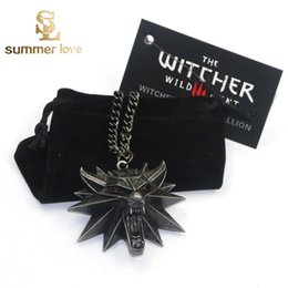 Wholesale Hot Sale The Witcher Wild Hunt Medallion Pendant Chain Necklace The Wild Hunt Figure Game Wolf Head Necklace With Bag Card