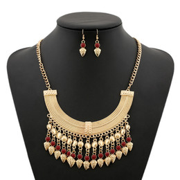 Wholesale Restoring ancient ways is exaggerated tassel coin diamond necklace earrings jewelry suit women adorn article