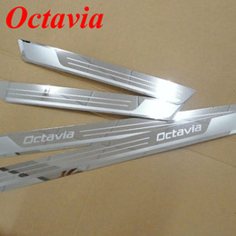 For 2014-15 Skoda Octavia A5 A7 Stainless Steel Scuff Plate Door Sill Strip Welcome Pedal for 2007- 2014 2015 Skoda Octavia Car Accessories