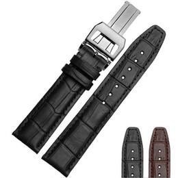 Haute qualité grain noir / brun Bamboo bracelet Véritable montre en cuir pour Portugal pilotes 20mm / 21mm / 22mm en cuir véritable Montre Band à partir de bracelet en cuir pilote fabricateur
