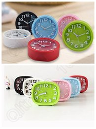 Wholesale 50PCS Cute Modern Mute Plastic Desk Table Bed Alarm Clock Candy Colors Simple Students Clock LLA173