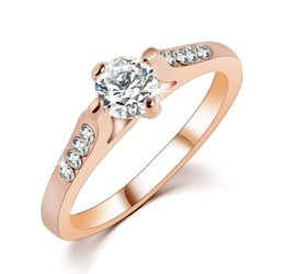 Wholesale 18K Rose Gold Alloy Plated Mounting AAA Zirconia Diamond Engagement Jewelry Rings For Women Gifts Size
