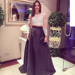 Two piece Long Sleeve Evening Dresses Applique Lace Satin A Line Sweep train Long Sleeve White and Black Prom pageant Gowns 2016