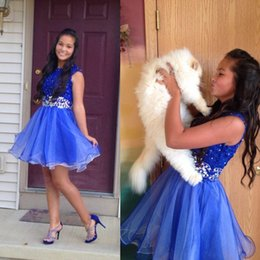 Wholesale 2016 New Cheap Graduation Dresses Royal Blue Organza Short Homecoming Dresses Shining Crystal Beaded Party Gowns Custom Made Store wide Disc