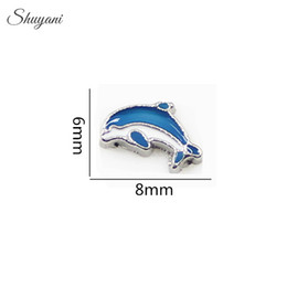 Wholesale Enamel Silver Plated Blue Dolphin Floating Lockets Charms for Bracelet DIY Jewelry Charms for Locket Necklaces