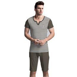 Wholesale-2016 Summer Adult Men Pajamas Sexy Both Robe Shorts Sleepwear Cotton Pyjamas Short Sleeve Striped Print Nightwear Set