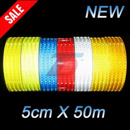 Wholesale New cmx50m Safety Mark Reflective tape stickers car styling arrow square red white yellow green blue Self Adhesive Warning Tape