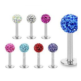 Cz Crystal Disco Full Ball Labret Lip Ring And Stud Nose Earring Fashion Sexy Women Piercing Body Jewelry Mix 10 Color 30PCS LOT
