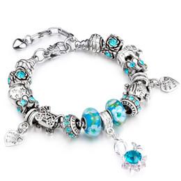 Luxury Silver Charm Bracelet & Bangle for Women With Swan Crystal Pandent Beads DIY Snake European Bracelets AA47