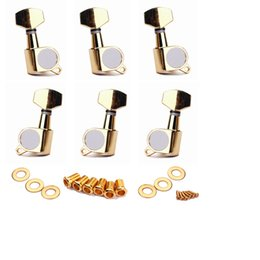 Touches du tuner acoustique en Ligne-Set de (6) Gold Guitar String Tuning Pegs Tuners Machine Head Keys 3L3R Fit for Acoustic Guitar