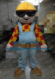 Wholesale Favored Flesh Pink Bob The Builder Architect Constructor Mascot Costume Cartoon Character Mascotte Adult Black Goggles ZZ631 FS