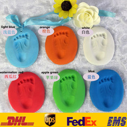 Wholesale DHL Creation Baby Care Air Drying Soft Clay Baby Handprint Footprint Imprint Kit Casting Color Bath SD H01