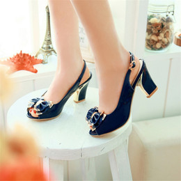 Sandals Shoes Woman Patent Leather New 2016 high 7.5CM Thick heel 32 33 40 41 42 Bow EUR Size 31-43